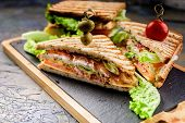 Classic Toast Sandwich With Smoked Beef, Cheese, Tomatoes And Lettuce. Traditional Breakfast Or Lunc poster