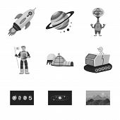 Isolated Object Of Universe And Travels  Icon. Collection Of Universe And Cosmic  Stock Symbol For W poster