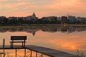 Madison Downtown Skyline With Wisconsin State Capitol Building Dome As Seen From Across Lake Monona  poster