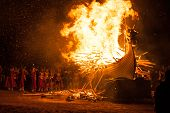 Up Helly Aa Burning Galley Ship. Climax Of The Viking Fire Festival Unique To The Shetland Isles, No poster