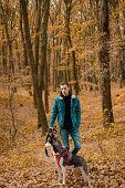 Pedigree Dog Concept. Best Friends. Unconditional Love. Guy Enjoy Walk With Husky Dog. Siberian Husk poster