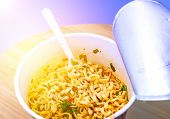 Instant Noodle. Noodle Soup In A Cup, View From Above. Instant Noodles Are Sold In A Precooked And D poster