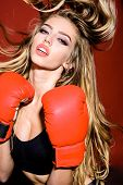 Sportwoman With Boxing Gloves. Workout. Fitness. Healthy Lifestyle. Boxing Gloves. Boxing Girl. Spor poster