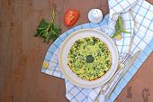 Breakfast, Omelet With Nettles On A White Clay Plate. Healthy Food. Food From Wild Herbs. Top View,  poster