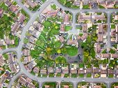Satellite Image Style Aerial View Of Homes On An English Housing Estate. Looking Straight Down On St poster