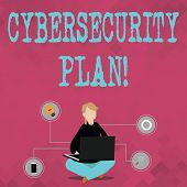 Writing Note Showing Cybersecurity Plan. Business Photo Showcasing Techniques Of Protecting Computer poster