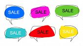 Shape Speech Bubble. Talk Pop Art Bubbles Colorful Shapes Of Balloon For Abstract Sale Price Sticker poster