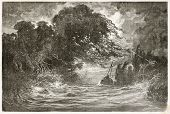 Night storm in Breves channel, Amazon basin. Created by Riou and Hildibrand, published on Le Tour du