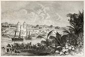 Igarape-Miri old view, Brazil. Created by Riou, published on Le Tour du Monde, Paris, 1867