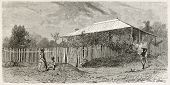 Noumea street old view, New Caledonia. Created by Moynet after photo of unknown author, published on Le Tour du Monde, Paris, 1867