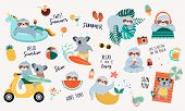 Summer Fun Illustration With Cute Characters Of Koalas And Sloths, Having Fun. Pool, Sea And Beach S poster