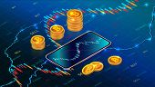 Cryptocurrency Stock Exchange Or Investment Concept With Mobile App. Digital Money Market. Forex Tra poster