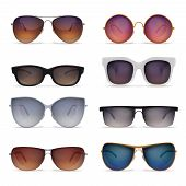 Set Of Eight Isolated Sunglasses Realistic Images With Sun Goggles Models Of Different Shape And Col poster