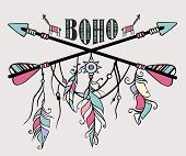 Vector Grunge Illustration Ethnic Arrows, Feathers And Dream Catcher. Boho And Hippie Style Poster. poster