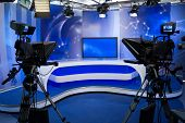 TV studio with camera and lights - Prepared for the production and shooting