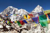 Rows Of Prayer Flags And Mounts Arakam Tse And Tabuche Peak, Sagarmatha National Park, Trek To Evere poster