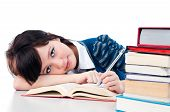 Cute Female Student Studying