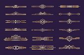 Art Deco Set. Vintage 1920s Golden Ornament, Nouveau Style Headers And Dividers, Retro Border Elemen poster