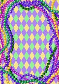 Mardi Gras Perlen Background with Place for text