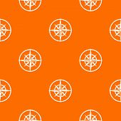 Sign Of Compass To Determine Cardinal Directions Pattern Repeat Seamless In Orange Color For Any Des poster