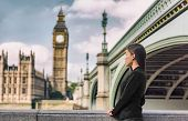 London business people city lifestyle young businesswoman looking at Parliament Big Ben clock tower, poster