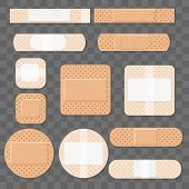 Treatment Aids Medical Plaster. Dressing Plasters, Wound Cross Plastering Band And Porous Bandage Pl poster