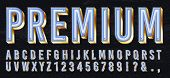 Neon Light Box Font. Premium Glowing Letters, Golden Alphabet And Elite Gold Lettering With Neons Li poster