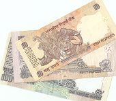 Indian banknotes - 10, 50 and 100 Indian rupees, the sample in 2010, the flip side.