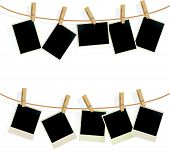 stock photo of clotheslines  - Photo Frames on Rope - JPG