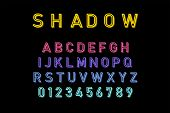 Shadow Font In Colorful Color. Font And Alphabet With Shadow. Lettering With Shadows poster