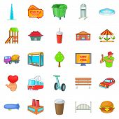 Capital Icons Set. Cartoon Set Of 25 Capital Icons For Web Isolated On White Background poster