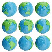 Set Of Low Poly Earth Globe Illustration. Collection Polygonal Globe Icon, Low Poly Design. Creative poster