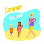 Travel Postcard With Summer Vacation Lettering. Holiday, Recreation Vector Postcard With Lettering.  poster