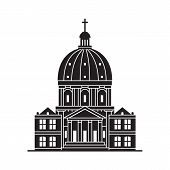 Travel Copenhagen Icon. Marble Church And Royal Palace Is One Of The Famous Landmarks And Tourist At poster