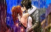 Beautiful Anime Boy And Girl Kissing In Rain poster