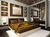 Постер, плакат: Интерьер уютной спальни коричневого цвета
