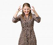 Beautiful middle age mature rich woman wearing leopard dress over isolated background Shouting frust poster