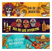 Dia De Los Muertos Mexican Traditional Holiday Or Day Of Dead. Vector Dia De Muertos Sketch Banners  poster