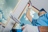 Caucasian Room Painter Finishing Apartment Window Edges. House Remodeling And Painting. poster