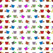 Illustration On Theme Big Colored Seamless Bucket Pattern, Type Of Wallpaper For Walls. Seamless Pat poster