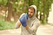 Sharpen His Skill. Sportsman Concentrated Training Boxing Gloves. Athlete Concentrated Face Sport Gl poster