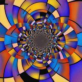 Abstract painting. Mirrored round fractal in Mondrian style. 3D rendering poster