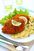 stock photo of fried chicken  - Wiener Schnitzel - JPG