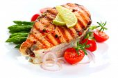 picture of plate fish food  - grilled salmon with lime - JPG