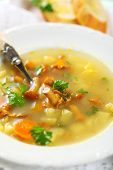 Vegetable soup with chanterelle mushrooms in white plate