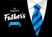 Happy Fathers Day Greeting Card. Banner Concept With Blue Striped Necktie And Men Suit On Background poster