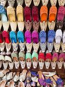picture of ruby red slippers  - The different arabic slippers in a street shop - JPG