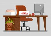 Office Workplace With Open Vacancy Sign Clipart. Hr Agency Vector Illustration. Recruitment. Workers poster