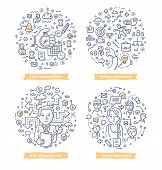 Doodle Vector Illustrations Of Project Management Areas: Time Management, Human Resources, Risk Mana poster