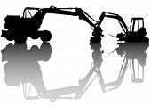 Vector drawing heavy construction excavators
